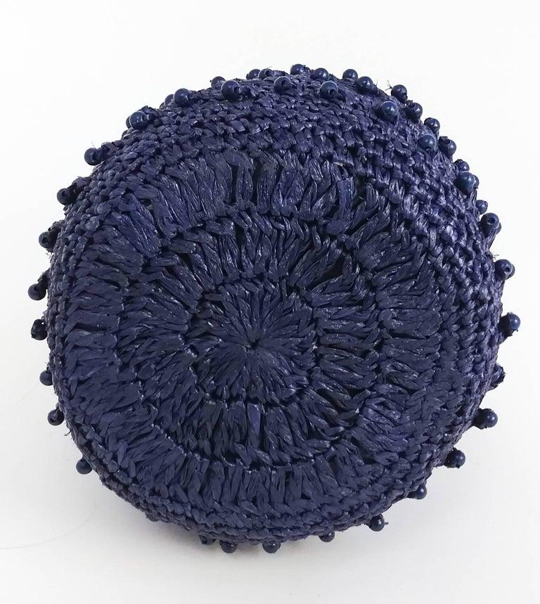 Purple 1960s Navy Raffia Woven Basket Purse For Sale