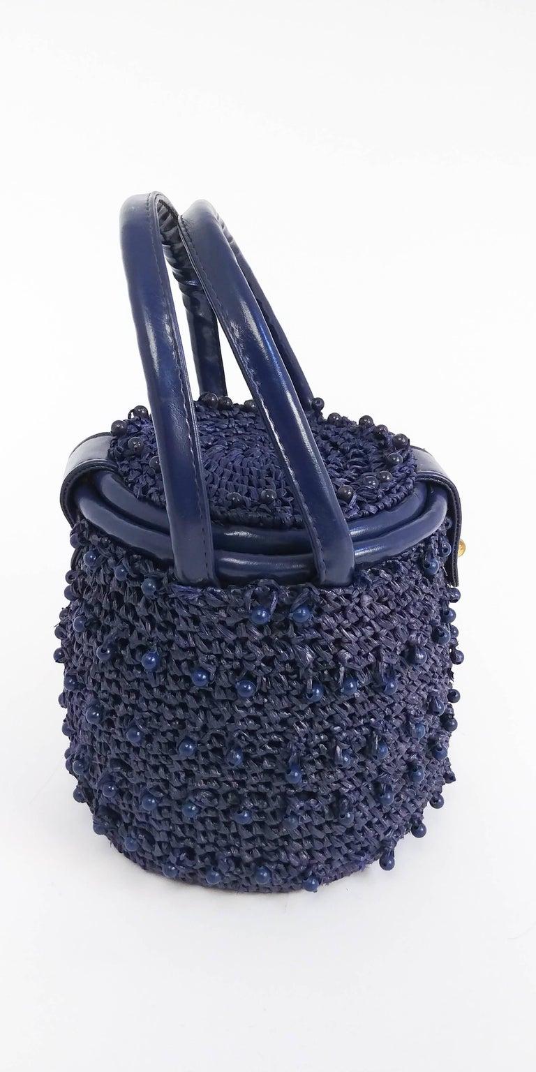 1960s Navy Raffia Woven Basket Purse For Sale 1