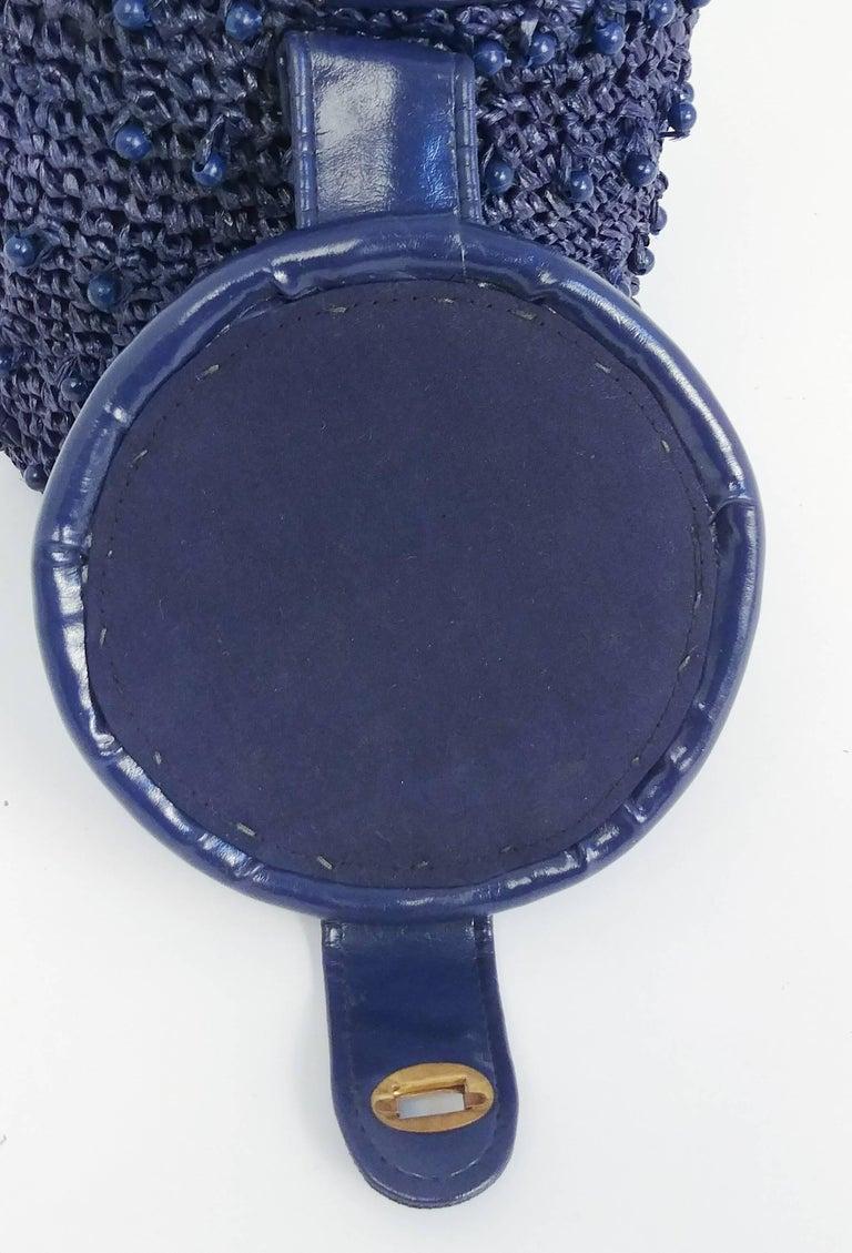 1960s Navy Raffia Woven Basket Purse For Sale 2