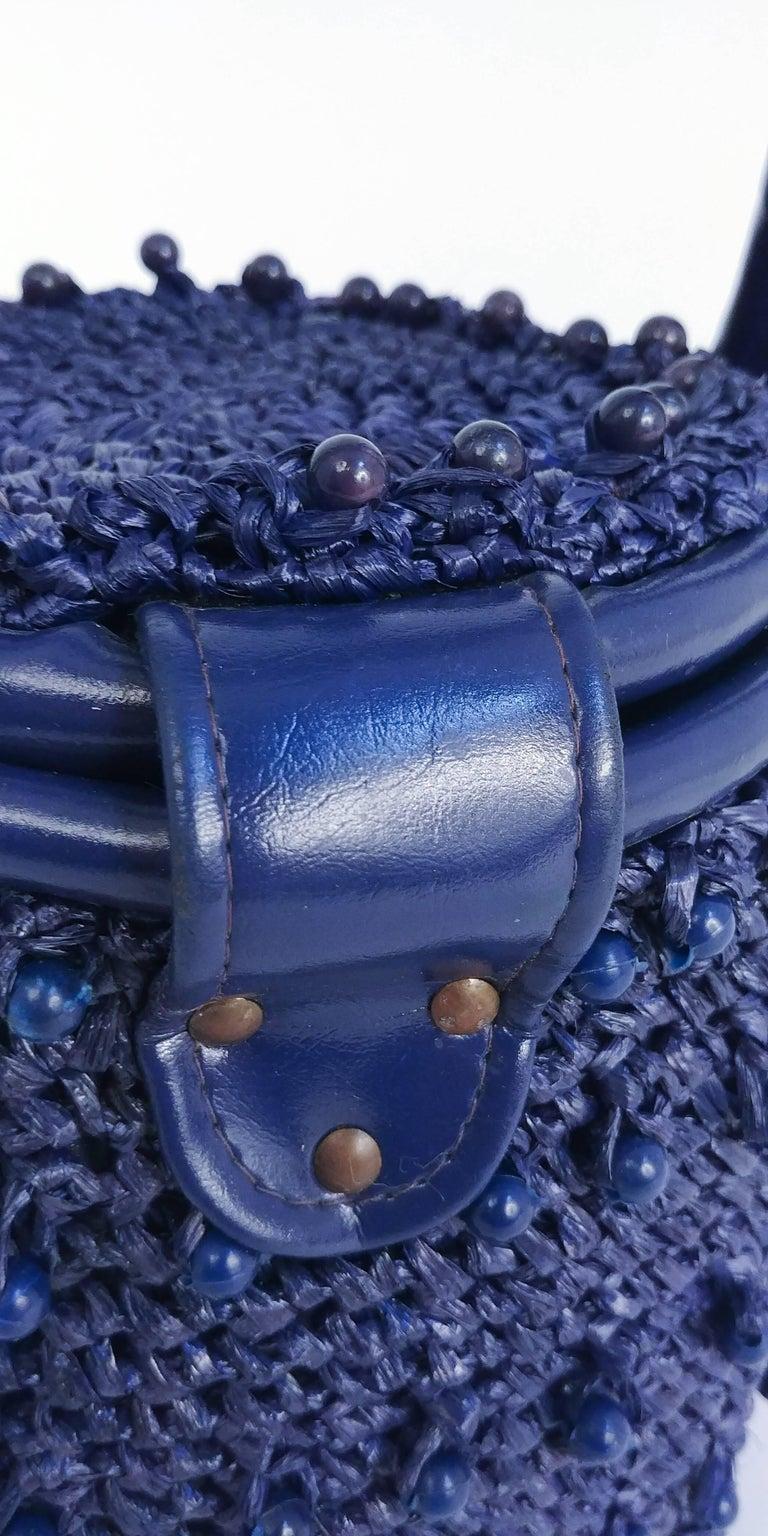 1960s Navy Raffia Woven Basket Purse For Sale 4