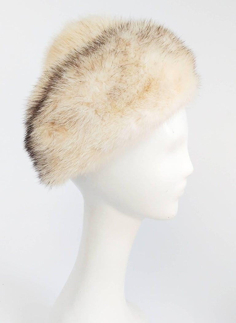 1960s Cream Cone Mink Hat. Worn perched towards back of head. Measures 17