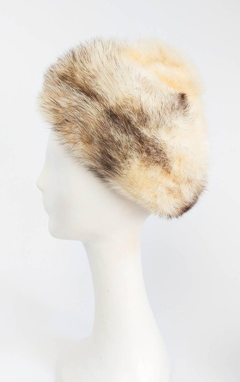 Beige 1960s Cream Cone Mink Hat For Sale