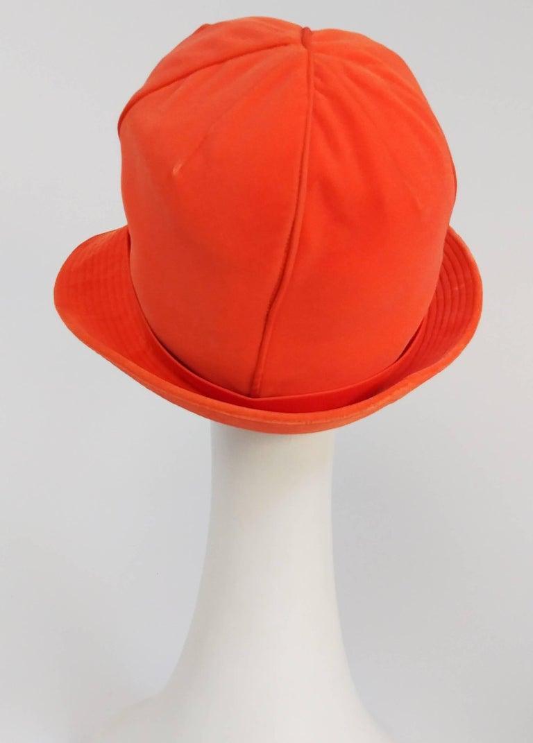 Red 1960s Orange Mod Velvet Cloche Hat For Sale