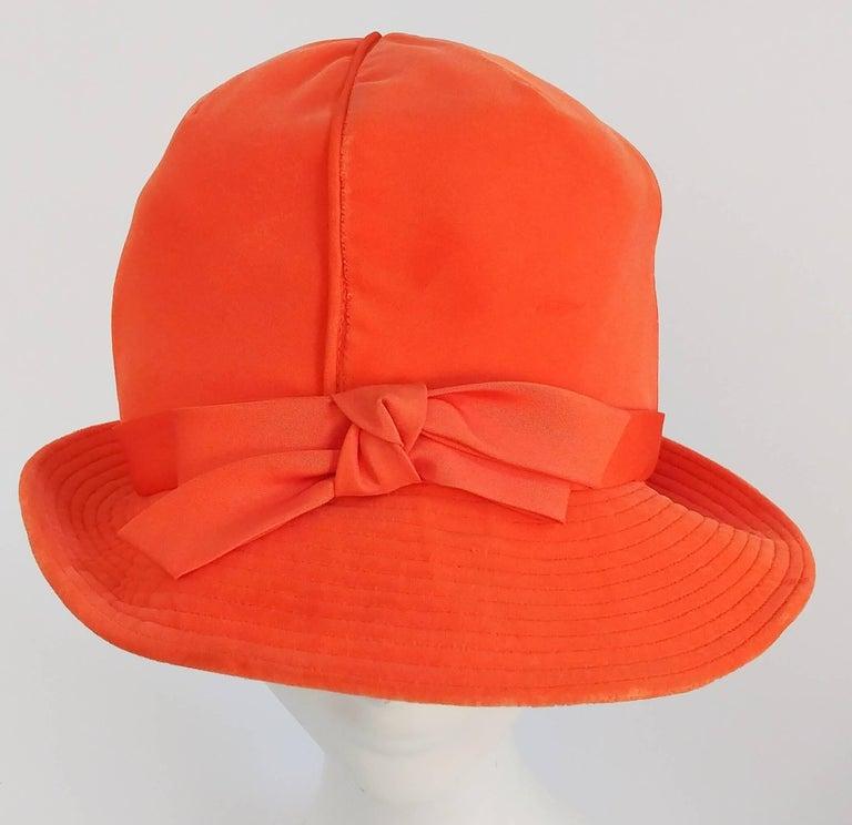 Women's 1960s Orange Mod Velvet Cloche Hat For Sale