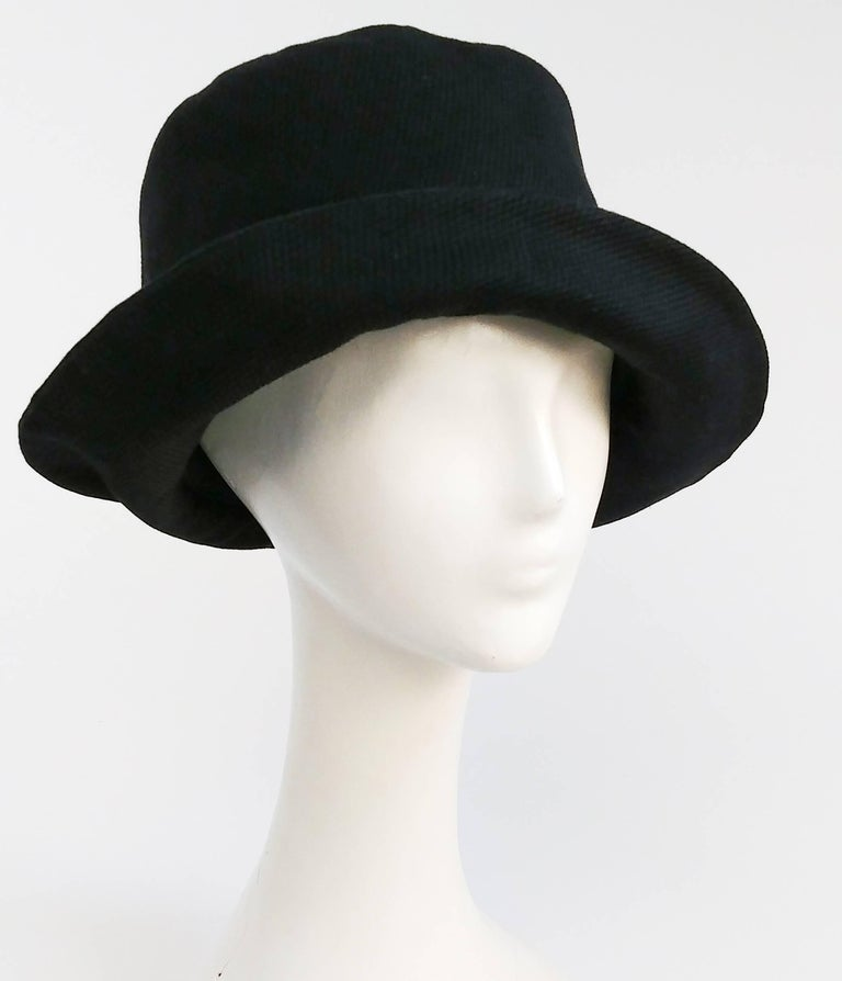 1960s Mod Black Pique Bucket Hat. Light cotton hat, great for warmer weather, lined with cotton twill. 21