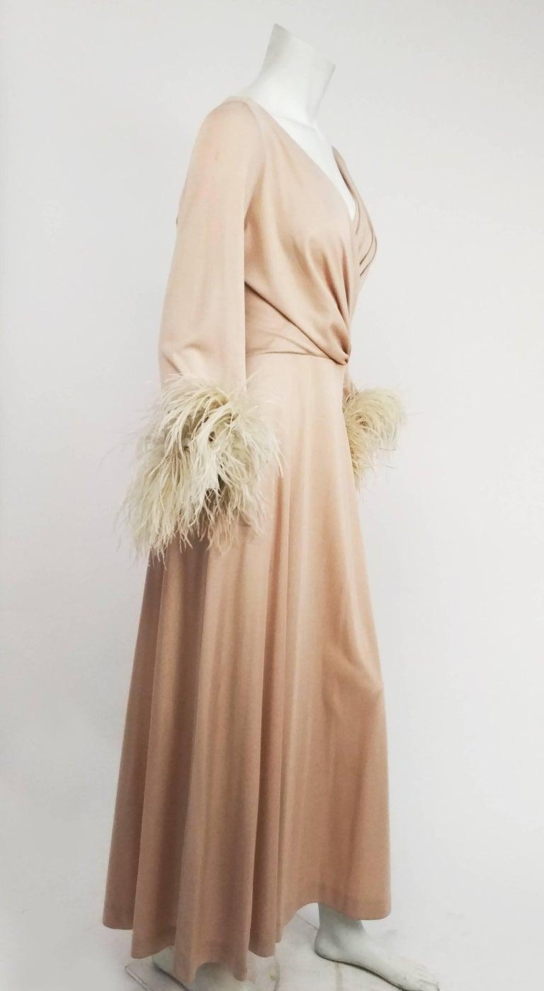 Beige 1970s Lilli Diamond Nude Wrap-Style Dress with Feather Trim