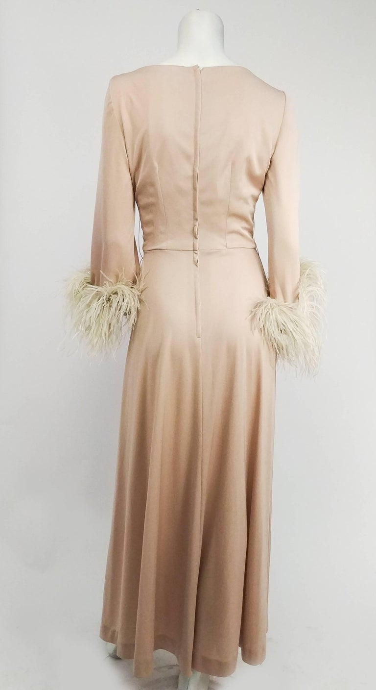 1970s Lilli Diamond Nude Wrap-Style Dress with Feather Trim  In Excellent Condition In San Francisco, CA