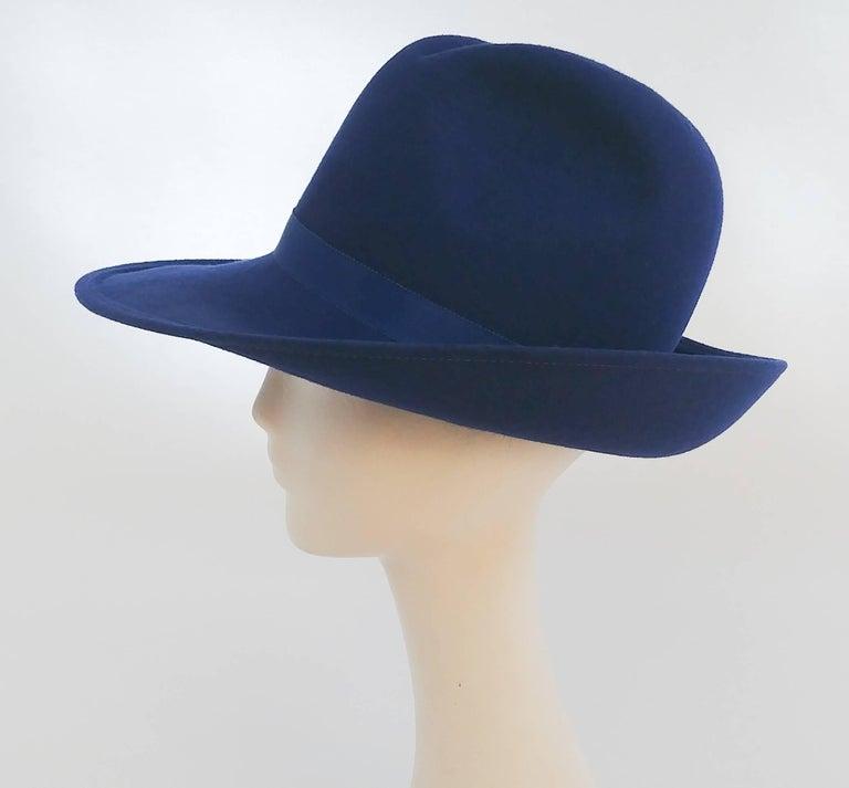 1980s Cobalt Blue Wide Brim Women's Fedora 2