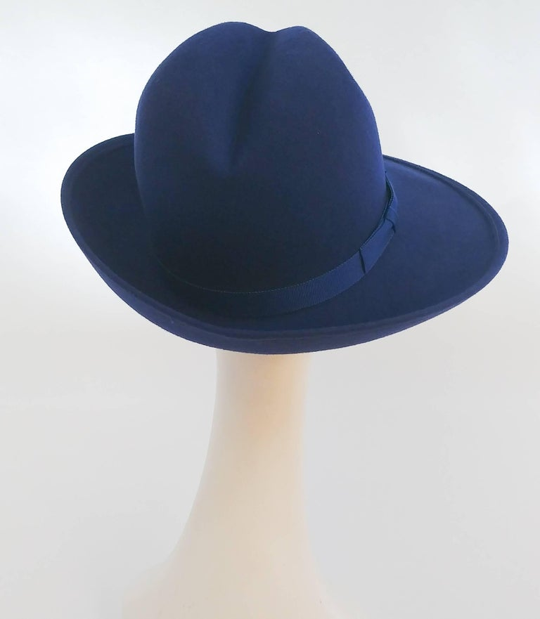 1980s Cobalt Blue Wide Brim Women's Fedora In Excellent Condition For Sale In San Francisco, CA