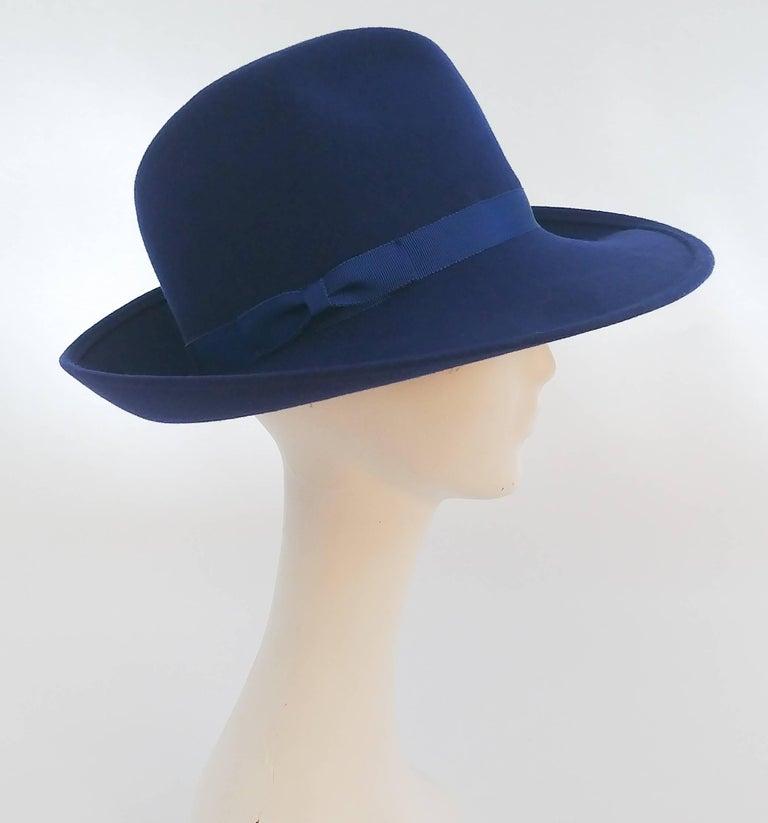 1980s Cobalt Blue Wide Brim Women's Fedora 4
