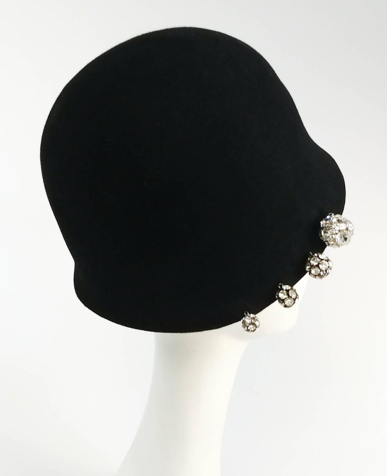 1960s Cloche Hat w/ Rhinestone Buttons. Row of rhinestone buttons on one side. Soft wool felt.