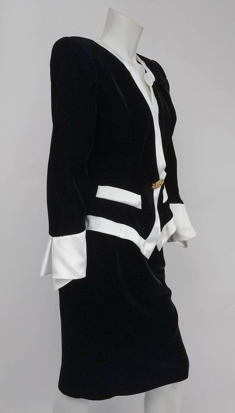 1980s Lilli Rubin Black Velvet Jacket And Skirt Suit Set W