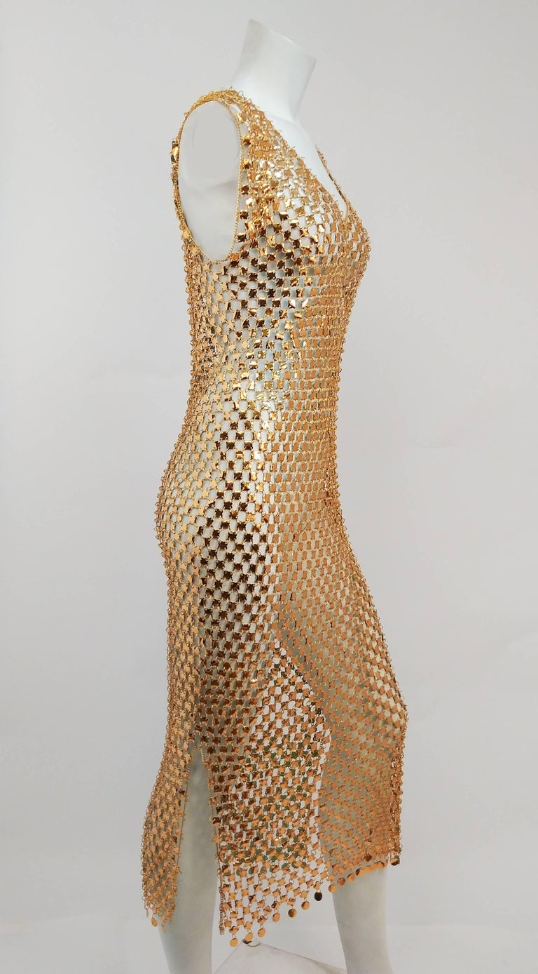 Brown 1970s Paco Rabanne Chain Link Disco Dress