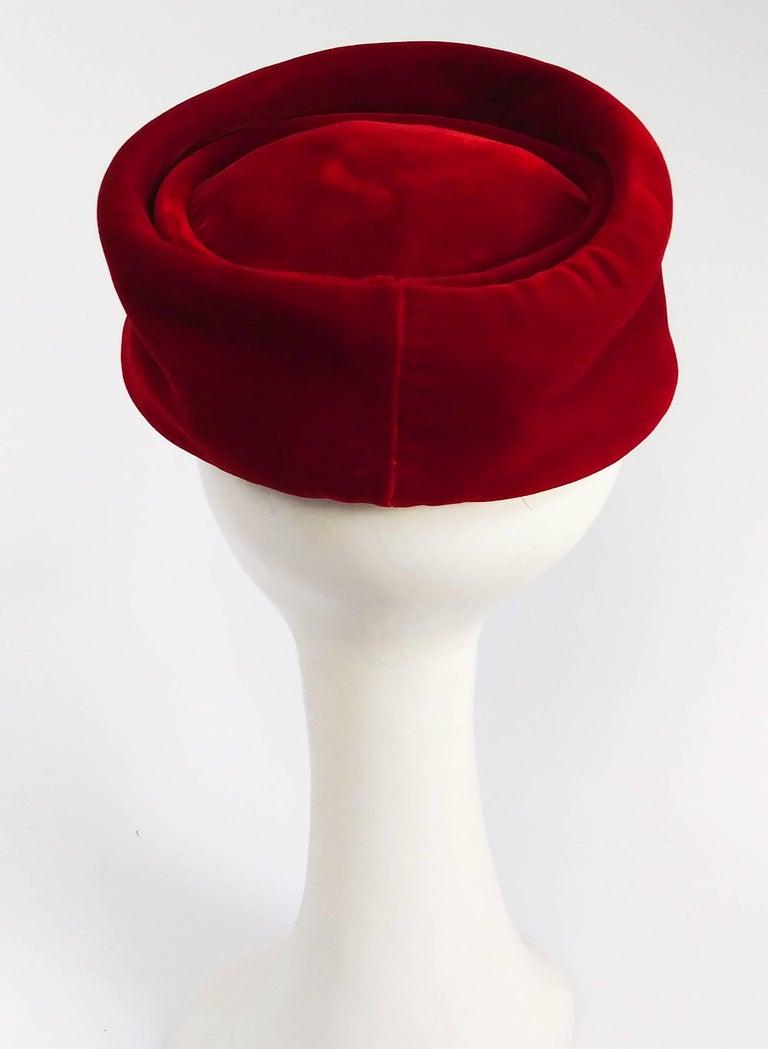 1960s Red Velvet Pillbox Hat w  Tassel For Sale at 1stdibs 02457d28b63