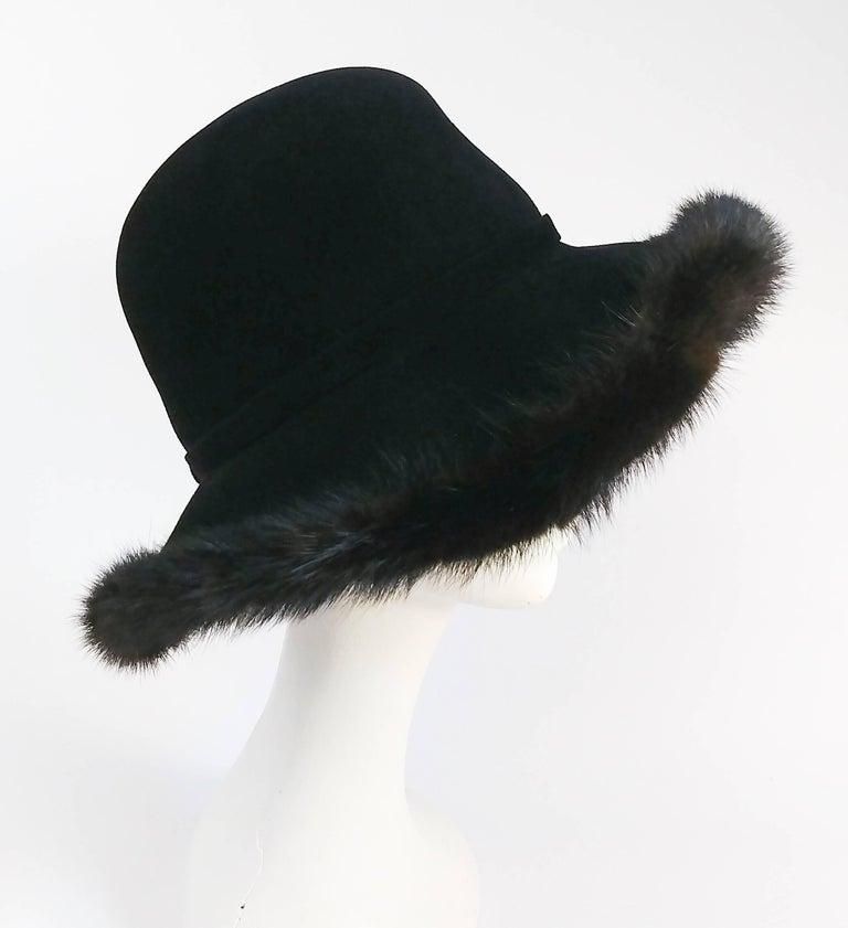 1970s Wide Brim Hat w/ Brown Mink Trim.