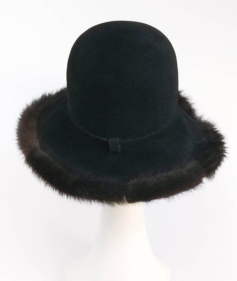 Black 1970s Wide Brim Hat w/ Brown Mink Trim For Sale