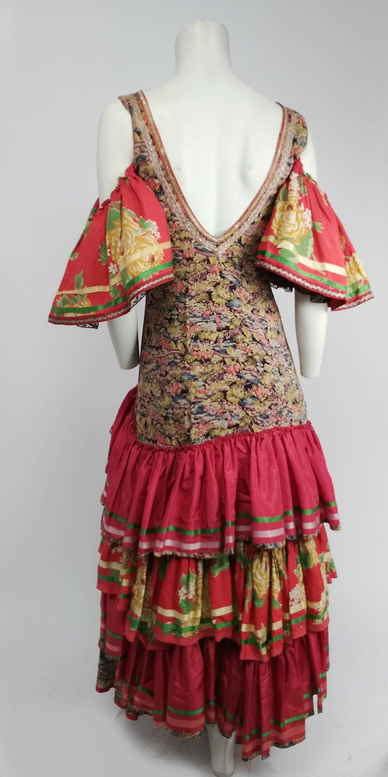 1950s Colorful Printed Flamenco Dress In Good Condition In San Francisco, CA
