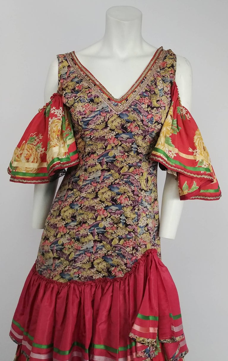 Pink 1950s Colorful Printed Flamenco Dress