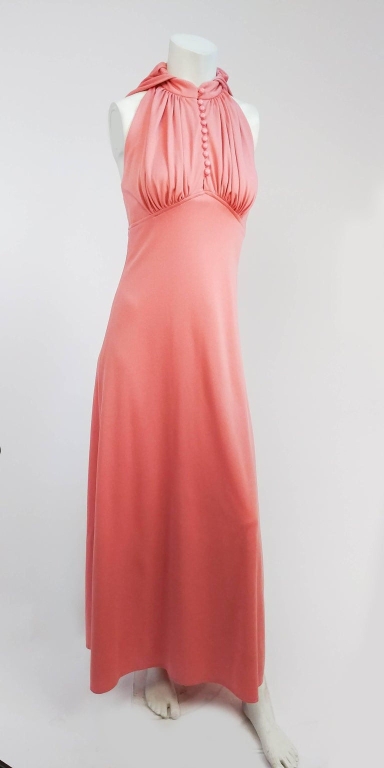 1970s Pink Hooded Halter Jersey Dress. Buttons up front, high neck. Ruched bust. Interesting statement hood. Zips up back.