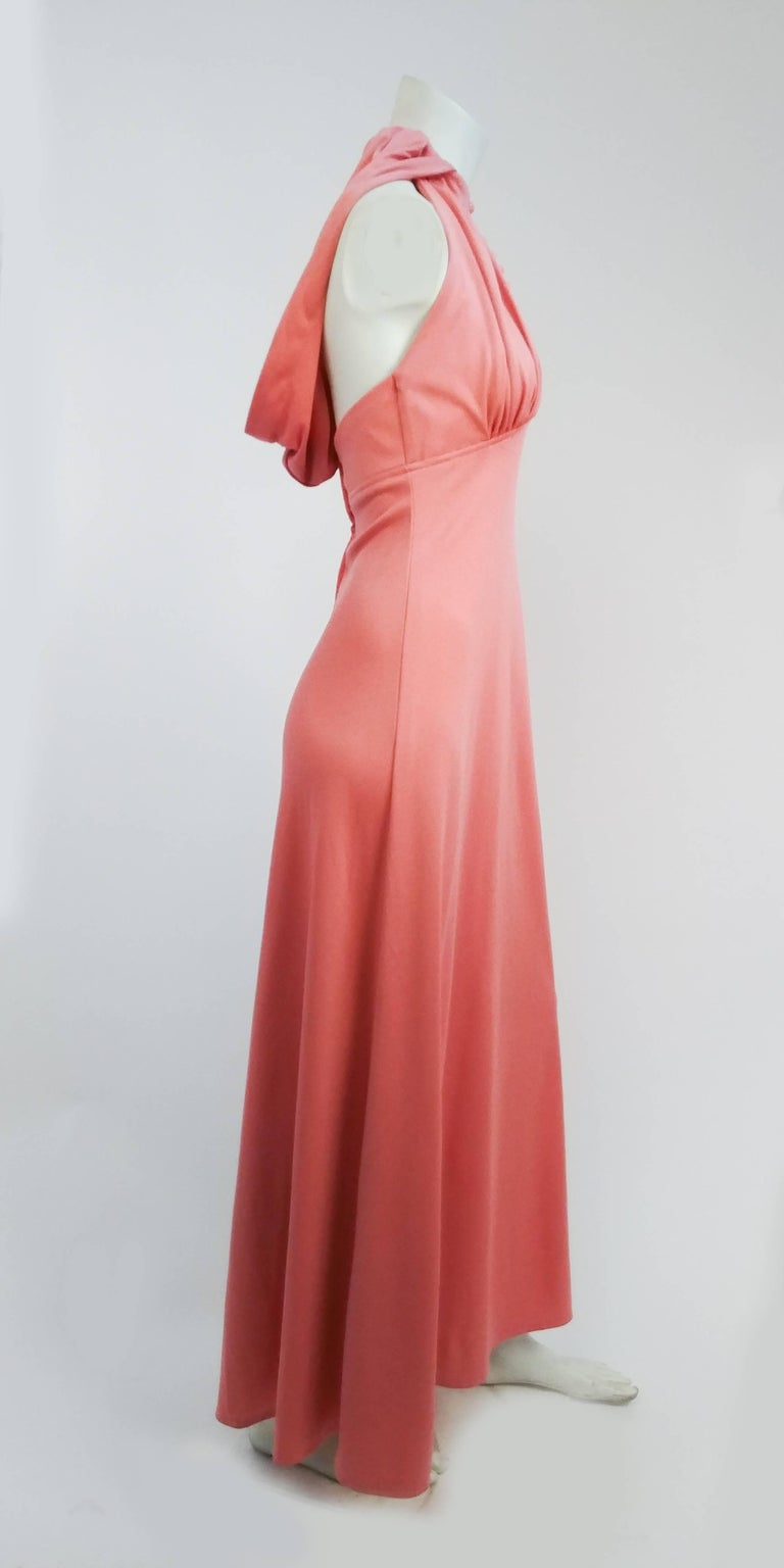 1970s Pink Hooded Halter Jersey Maxi Dress In Good Condition In San Francisco, CA