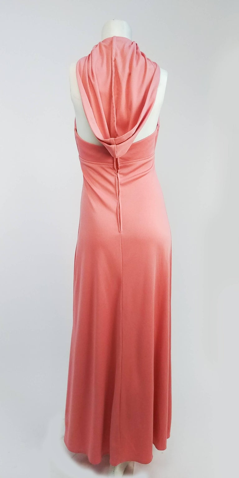 Women's 1970s Pink Hooded Halter Jersey Maxi Dress