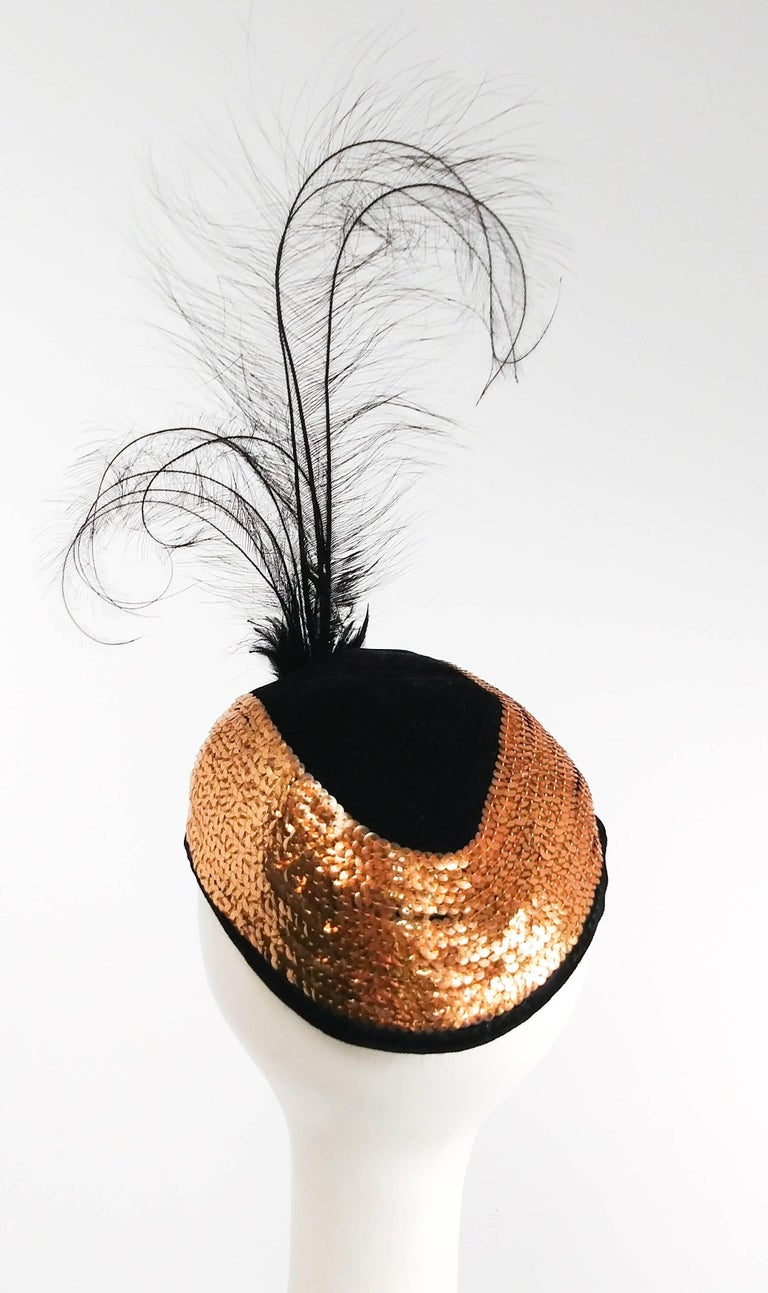 1930s Gold Sequin Cocktail Hat with Feather. Bouquet brooch detail.