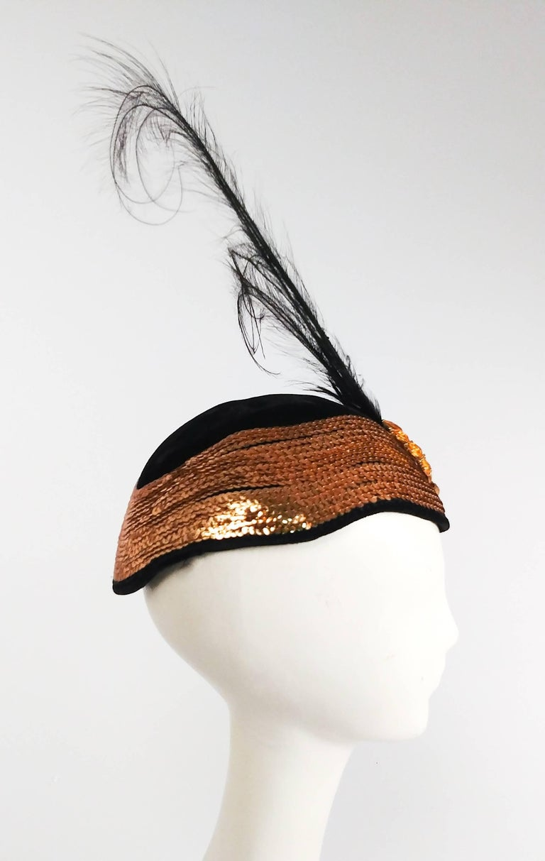 Beige 1930s Gold Sequin Black Cocktail Hat with Feather