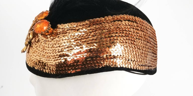 Women's 1930s Gold Sequin Black Cocktail Hat with Feather
