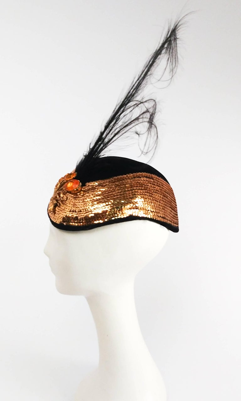 1930s Gold Sequin Black Cocktail Hat with Feather In Excellent Condition In San Francisco, CA