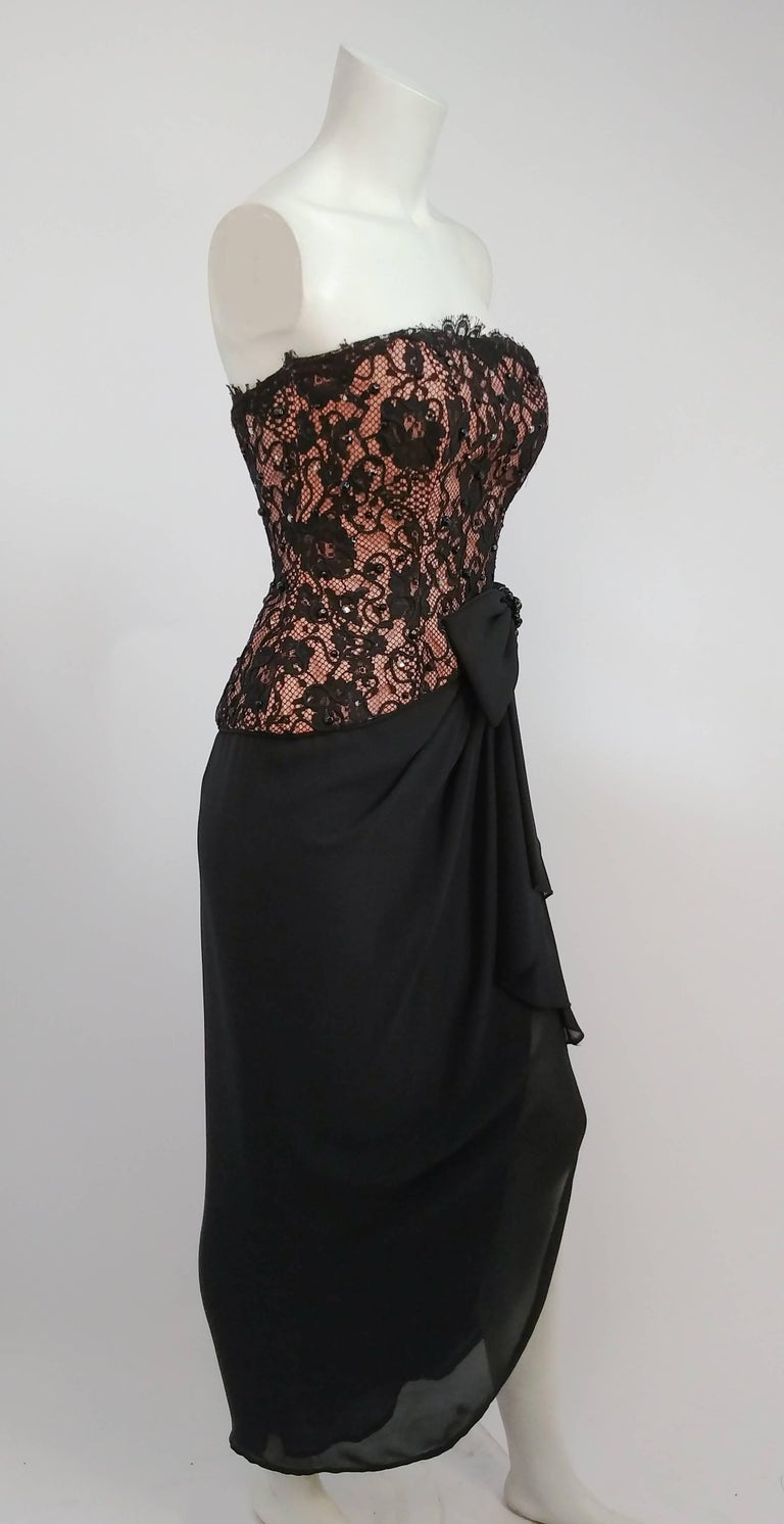 1980s A.J. Bari Corseted Lace Bodice Cocktail Dress w/ Draped Skirt 3
