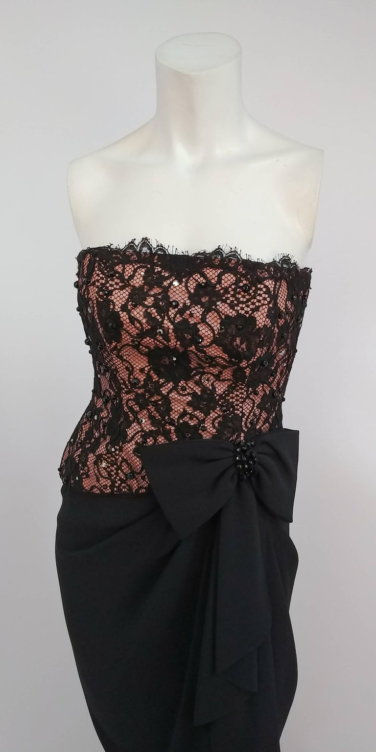 1980s A.J. Bari Corseted Lace Bodice Cocktail Dress w/ Draped Skirt 2