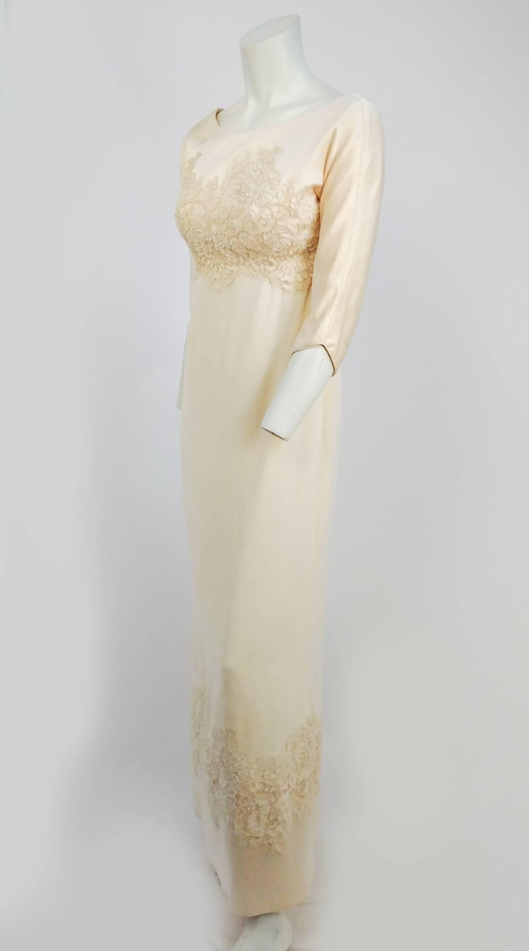 1960s Ivory Silk Crepe Wedding Dress W Beaded Applique For Sale At