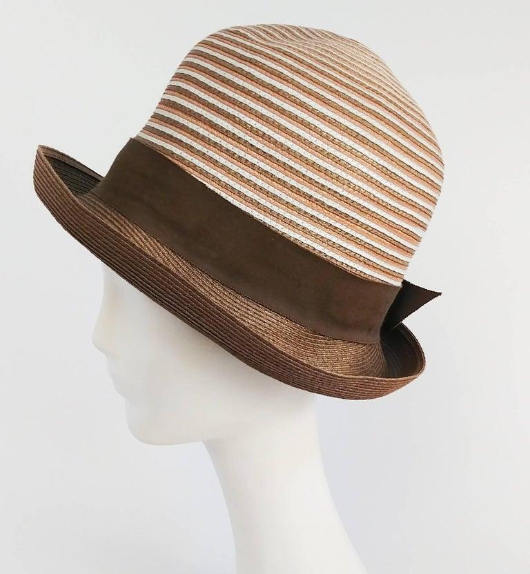 1960s Brown & White Stipe Woven Cloche Hat. Small fit.