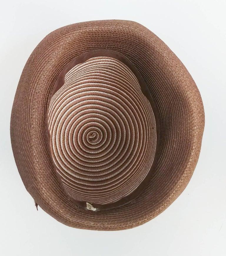 1960s Brown & White Stipe Woven Cloche Hat For Sale 1