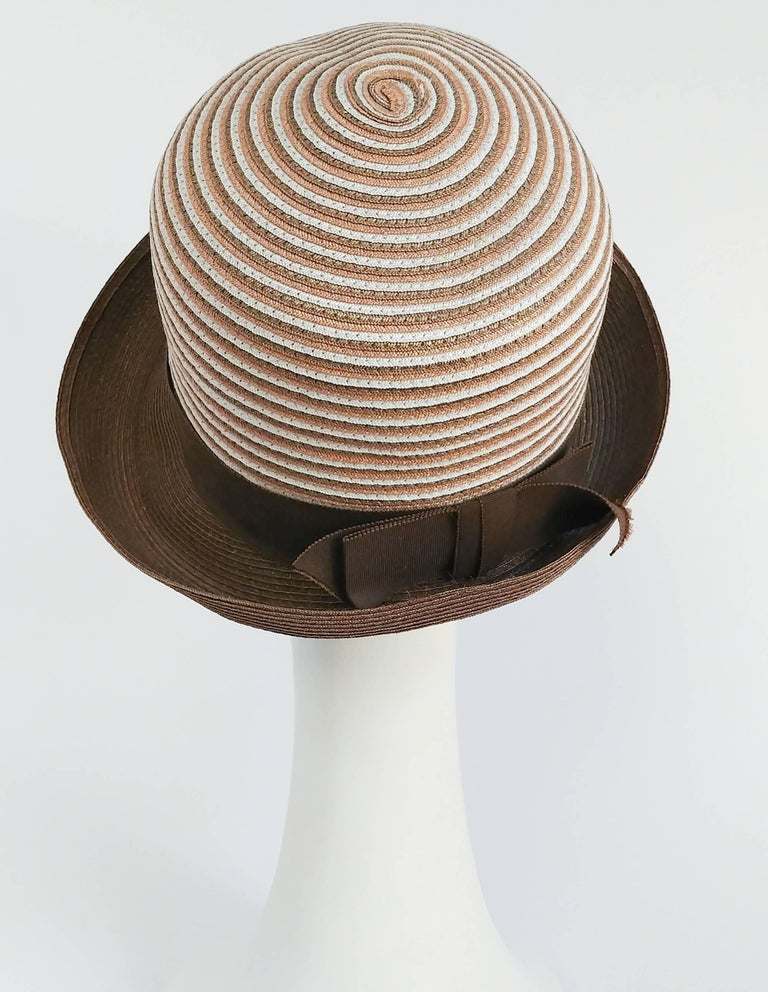 Women's 1960s Brown & White Stipe Woven Cloche Hat For Sale