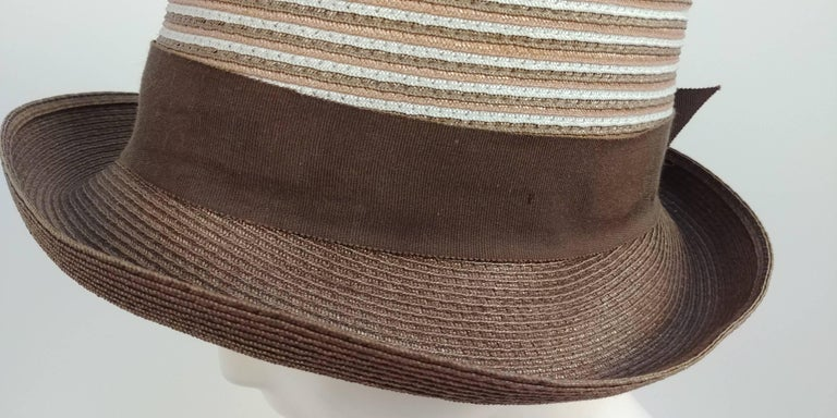 1960s Brown & White Stipe Woven Cloche Hat In Good Condition For Sale In San Francisco, CA