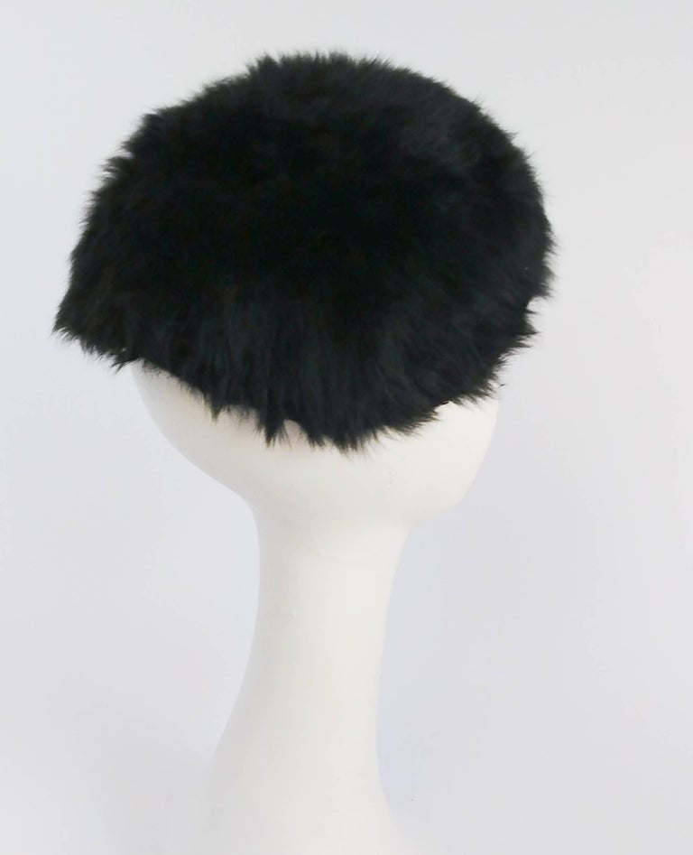 1960s Black Rabbit Fur Mod Cap w  Brim For Sale at 1stdibs bf2ac1a3715b