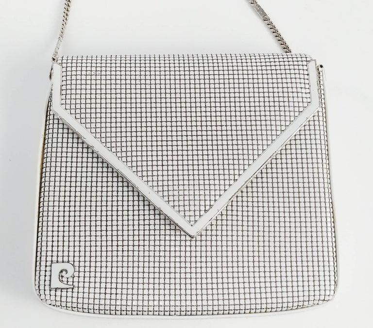 1970s Pierre Cardin White Metal Mesh Purse. Long strap can tuck into purse.