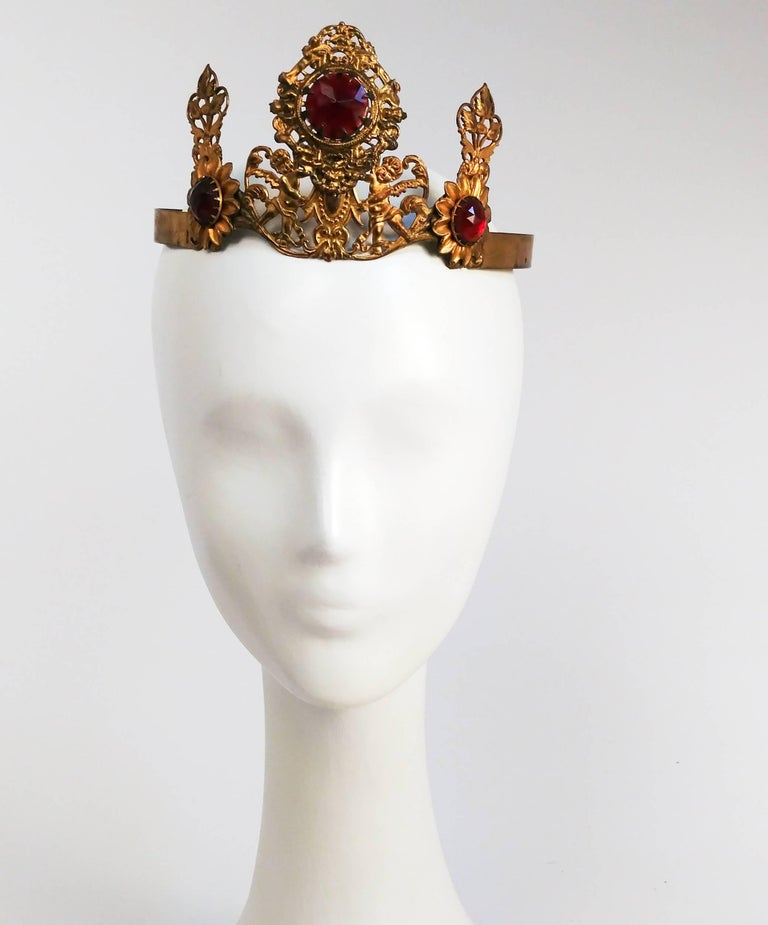 1920s Art Nouveau Brass Crown With Jewels. Adjustable back slides to fit.