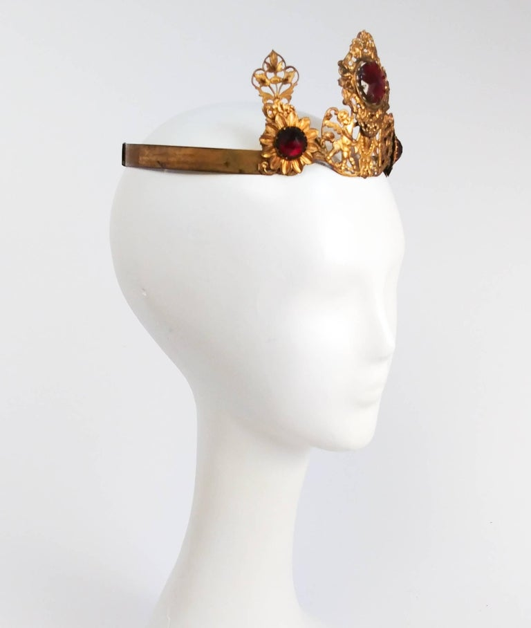 Brown 1920s Art Nouveau Brass Crown With Jewels