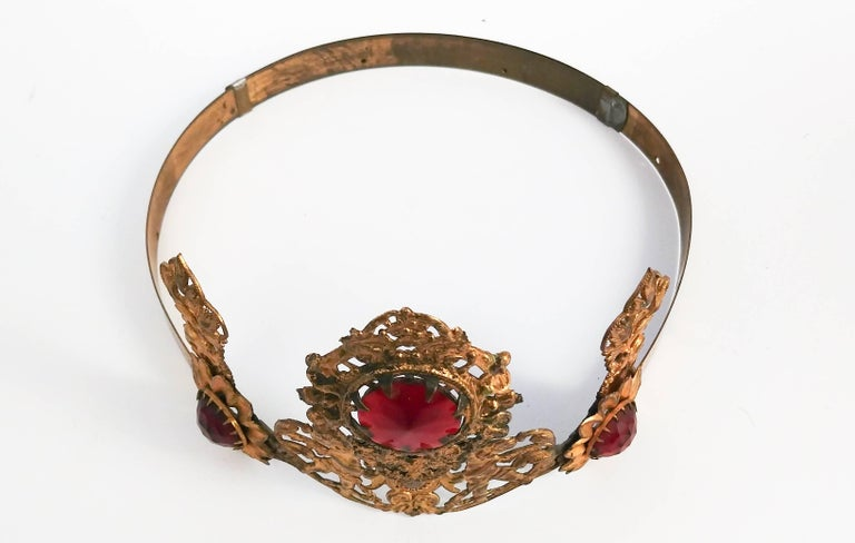 1920s Art Nouveau Brass Crown With Jewels 2