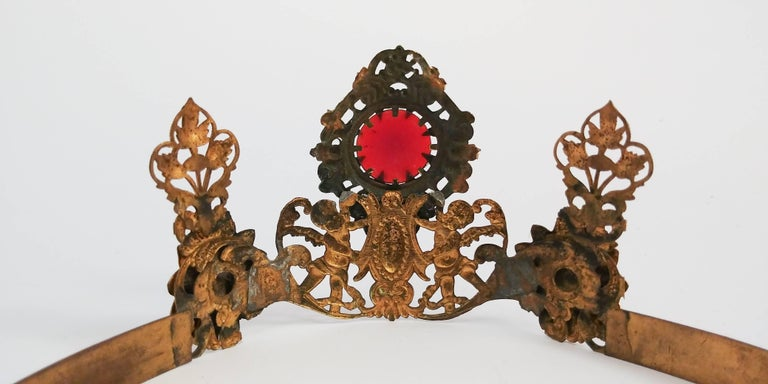 1920s Art Nouveau Brass Crown With Jewels 1