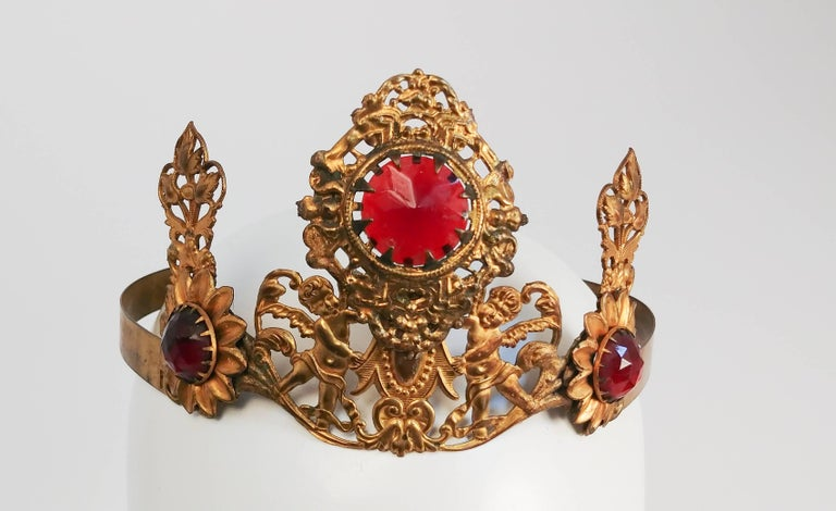 Women's 1920s Art Nouveau Brass Crown With Jewels
