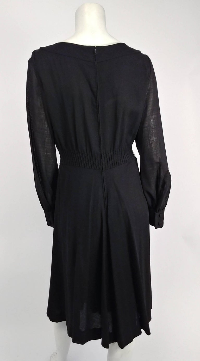1960s Valentino Smocked Black Day Dress In Excellent Condition For Sale In San Francisco, CA