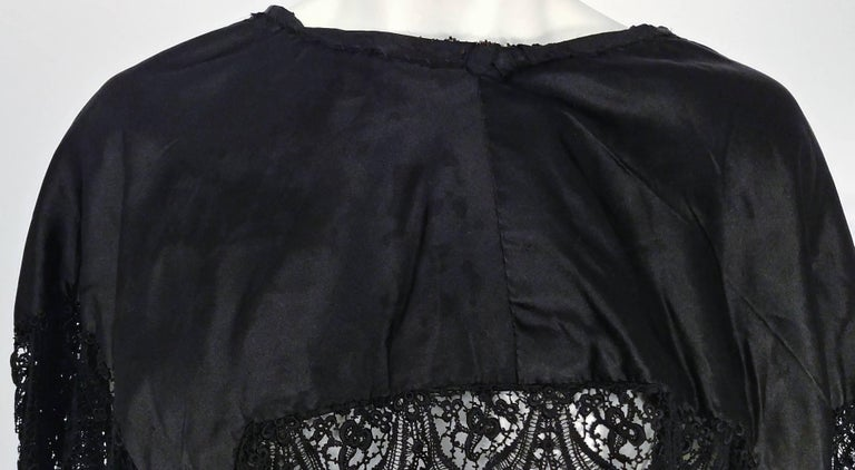 Victorian Black Beaded Battenburg Lace Mourning Capelet 2