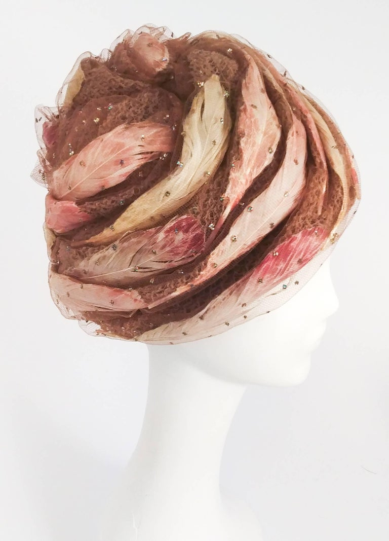 1960s Christian Dior Tulle Turban with Feathers In Excellent Condition In San Francisco, CA