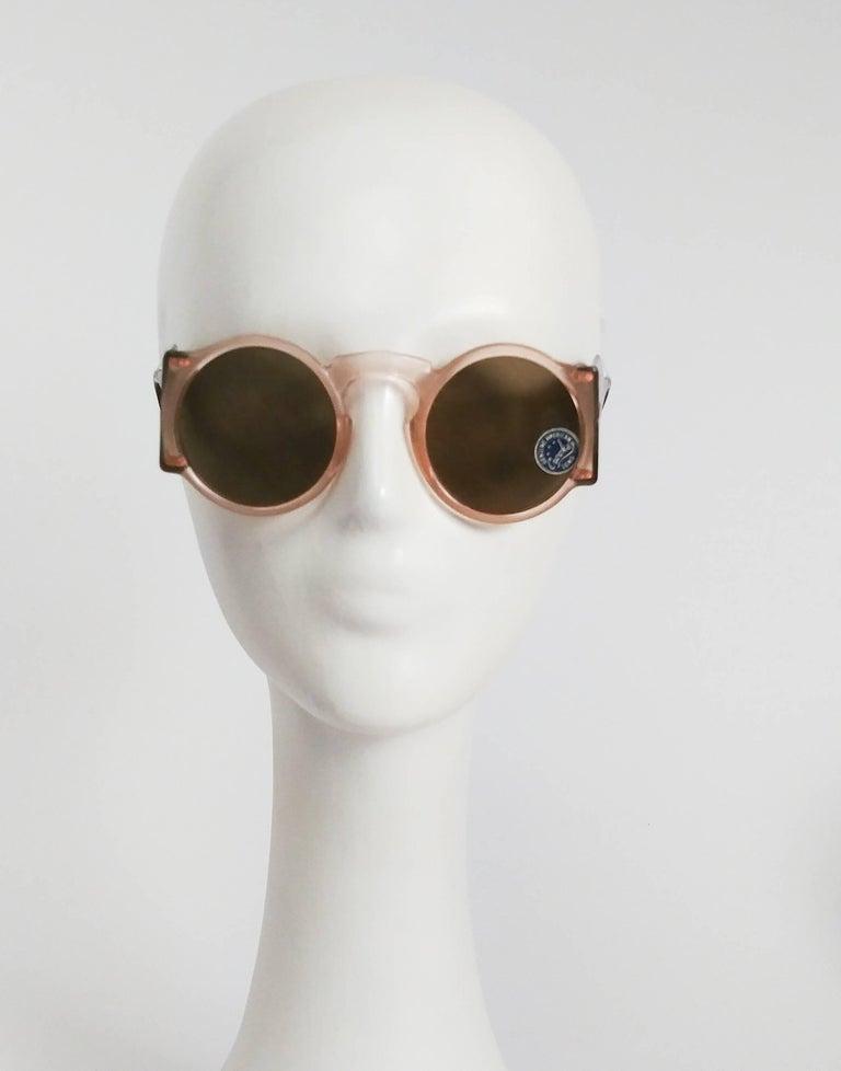 Women's 1930s Light Pink Round Celluloid Sunglasses