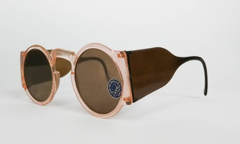1930s Light Pink Round Celluloid Sunglasses. Deadstock. Small fit.