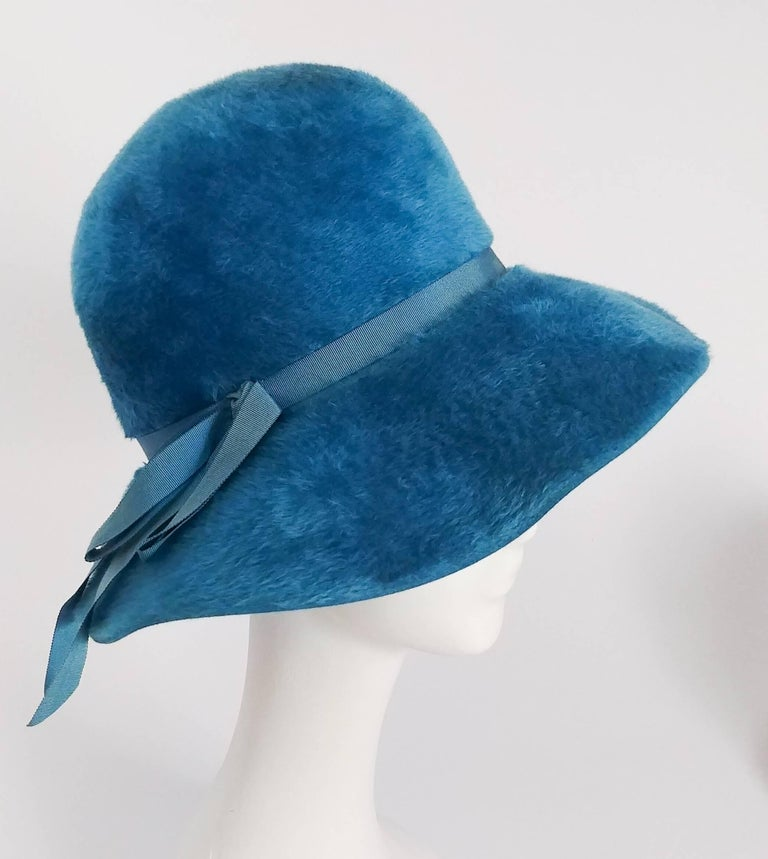 1960s Cerulean Blue Felt Wide Brim Floppy Hat. Blue grosgrain ribbon band.