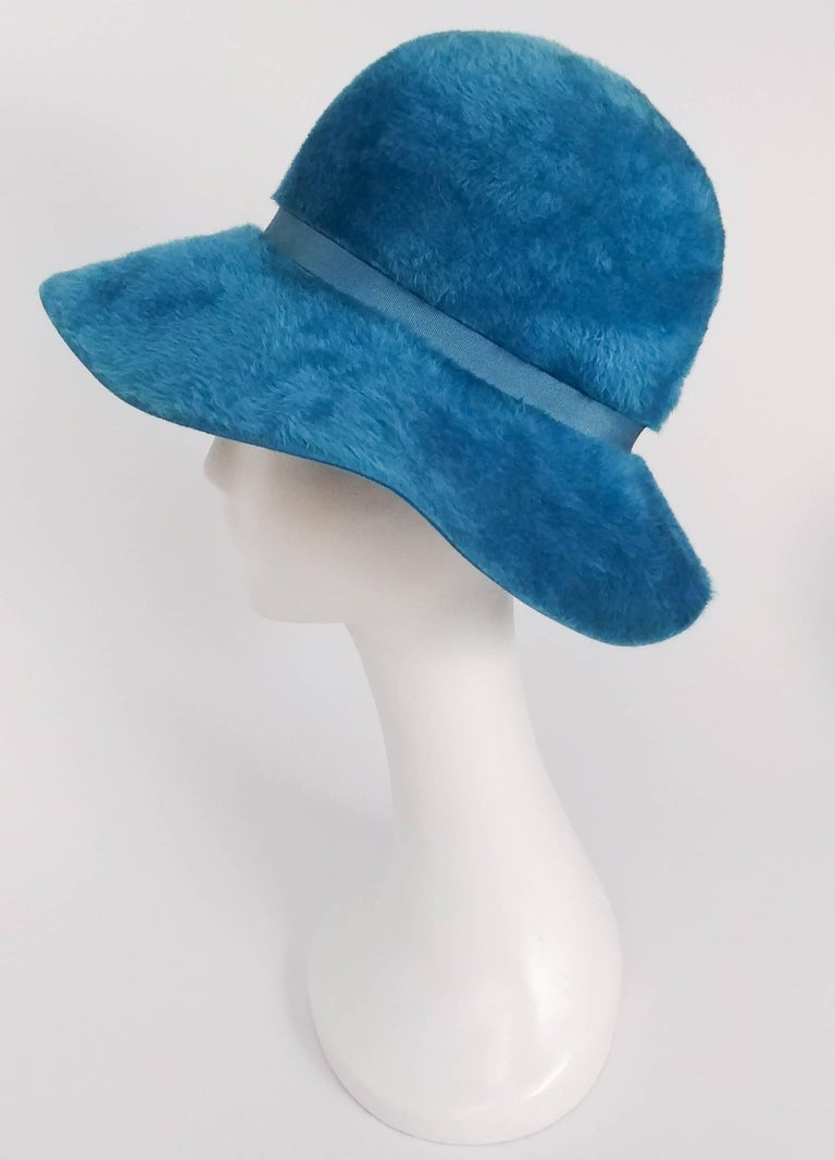 1960s Cerulean Blue Felt Wide Brim Floppy Hat 4
